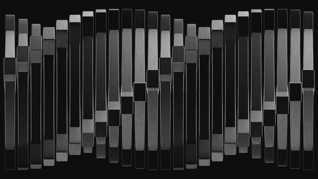 Renderização em 3d. abstrato moderno rotação torção pilha de painel quadrado preto.