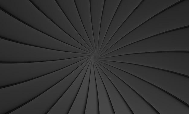 Renderização em 3d. abstrato placa preta redemoinho torção arte design túnel parede plano de fundo.