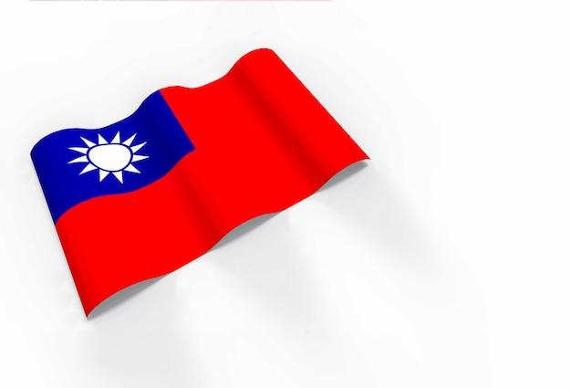 Renderização em 3d. acenando a bandeira nacional de taiwan.