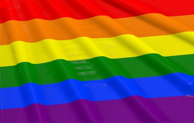 Renderização em 3d. acenando lgbtq + cor do arco-íris bandeira fundo da parede.