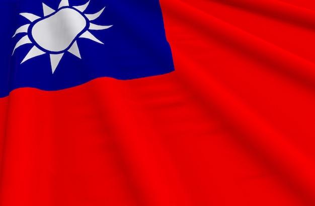 Renderização em 3d. acenando o fundo da parede de bandeira nacional de taiwan.