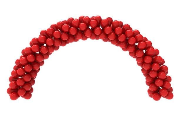 Renderização em 3d. balões vermelhos curvam o portão com o traçado de recorte isolado no branco.