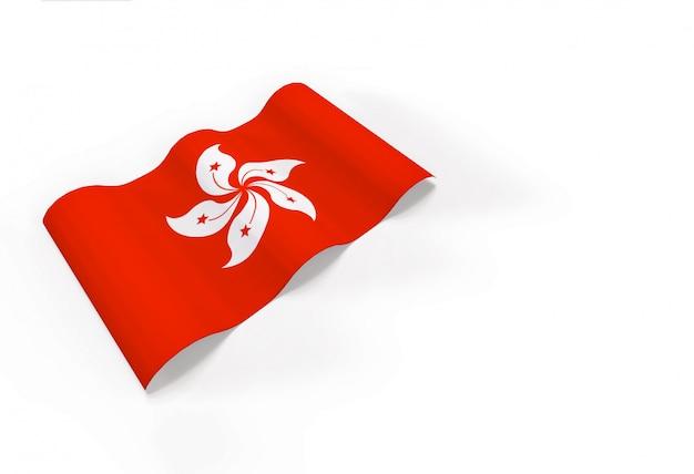 Renderização em 3d. bandeira nacional de hong kong.