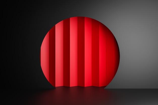 Renderização em 3d. belo arco geométrico, portão, portal. arco geométrico abstrato em uma parede escura. buraco redondo, entrada para a parede com uma tela vermelha.