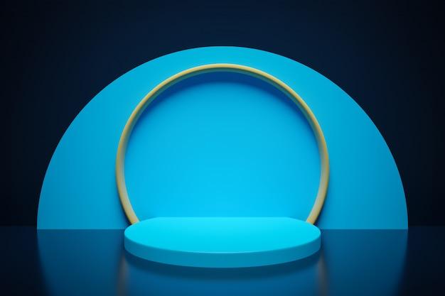 Renderização em 3d. belo arco geométrico, portão, portal. arco geométrico abstrato sobre um fundo escuro. buraco redondo, entrada para a parede com uma tela azul.
