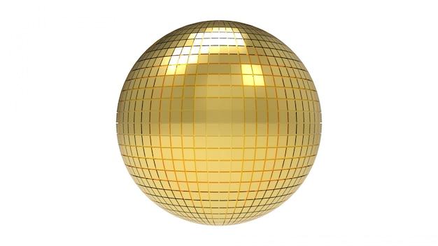 Renderização em 3d. bola dourada da esfera do disco com o trajeto de grampeamento isolado no branco.
