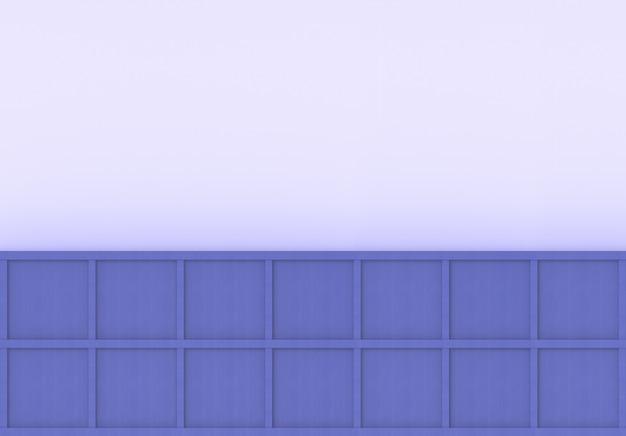 Renderização em 3d. caixa quadrada de madeira roxa azul mínima moderna no fundo da parede de luz.