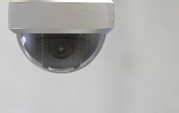 Renderização em 3d. câmera de cúpula de esfera de segurança com traçado de recorte isolado em cinza