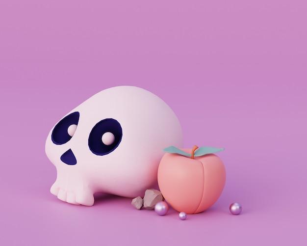 Renderização em 3d conceito de estilo mínimo de crânio bonito festival de halloween
