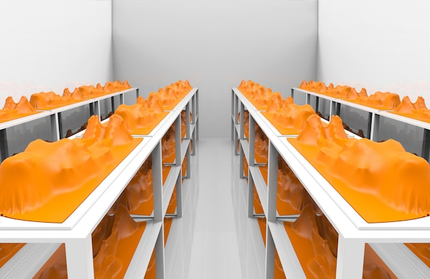 Renderização em 3d. corpo humano morto coberto por saco de plástico laranja na prateleira na sala cinza. as pessoas morrem do conceito crítico do vírus covid-19 corona.