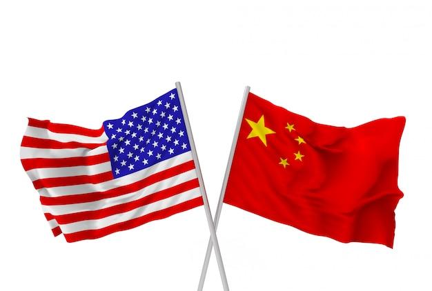 Renderização em 3d. cruzando o pólo de bandeiras nacionais da china e dos eua com o traçado de recorte isolado no branco.