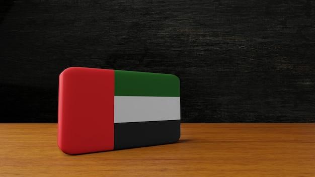 Renderização em 3d da bandeira quadrada dos emirados árabes unidos
