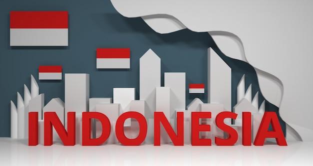 Renderização em 3d da construção da cidade e culto adequado a comunidades religiosas na indonésia.