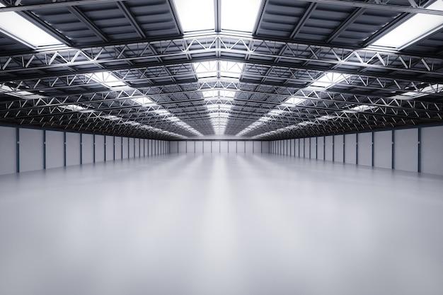 Renderização em 3d da fábrica vazia do interior com lâmpadas pendentes