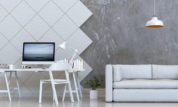 Renderização em 3d da sala interior com computador desktop