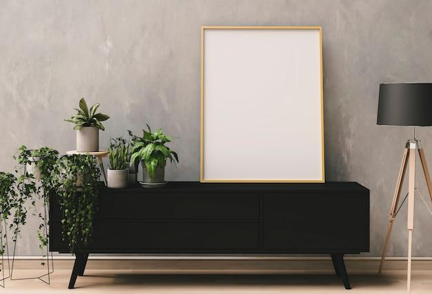 Renderização em 3d da sala interior com plantas, lâmpada, armário e cartaz em branco de maquete