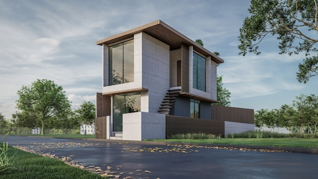 Renderização em 3d da visualização da casa