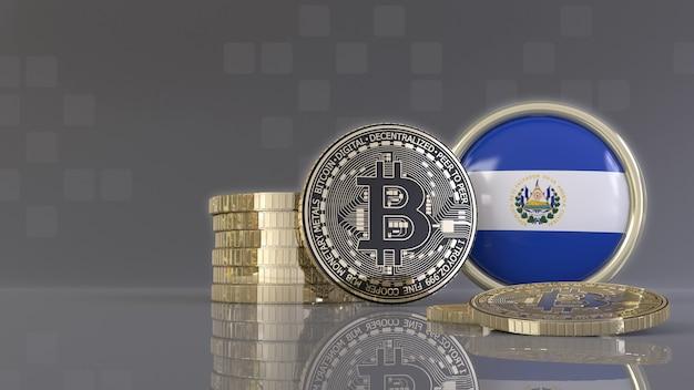 Renderização em 3d de alguns bitcoins metálicos em frente a um emblema com a bandeira salvadorenha