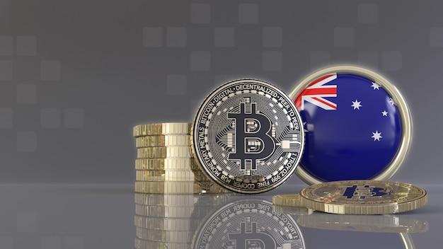 Renderização em 3d de alguns bitcoins metálicos na frente de um emblema com a bandeira australiana