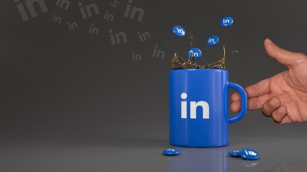 Renderização em 3d de alguns comprimidos do linkedin caindo em uma caneca azul com o logotipo desta rede social profissional