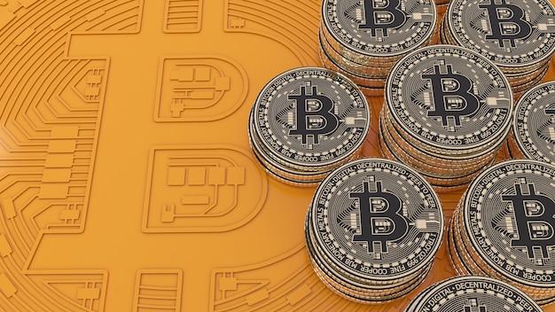 Renderização em 3d de bitcoins ouro e moedas metálicas pretas sobre fundo laranja