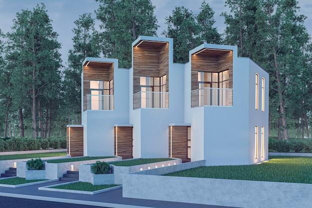 Renderização em 3d de casa moderna leve e aconchegante casinha para venda ou aluguel com muita grama no gramado