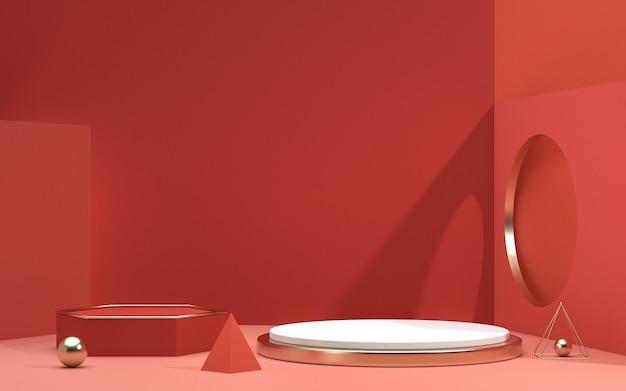 Renderização em 3d de cenas de fundo abstrato e pódio de formas geométricas