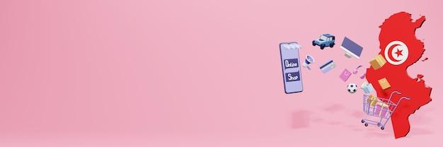 Renderização em 3d de compras online na tunísia para mídias sociais e sites