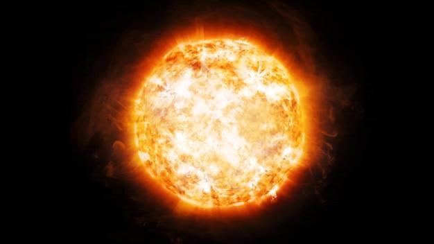 Renderização em 3d de emissões coronárias e proeminências no sol no espaço