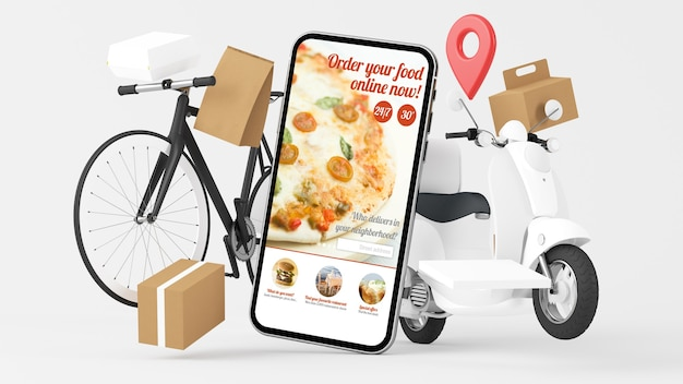 Renderização em 3d de entrega de aplicativo on-line de pedidos de comida