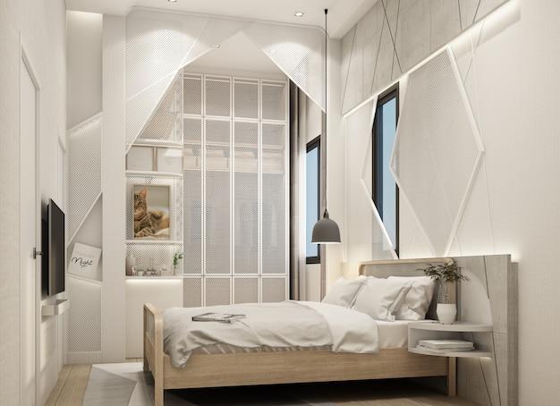 Renderização em 3d de estilo natural moderno do interior do quarto