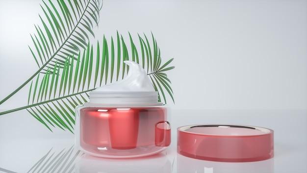 Renderização em 3d de frascos de vidro de creme cosmético para exposição de produtos