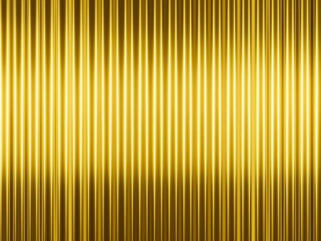 Renderização em 3d de fundo de linhas verticais douradas abstratas