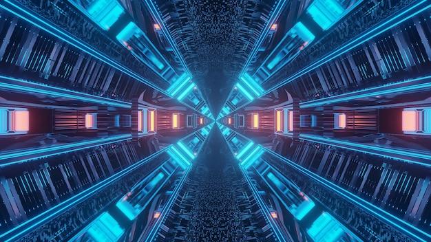 Renderização em 3d de fundo futurístico de luzes de techno de ficção científica