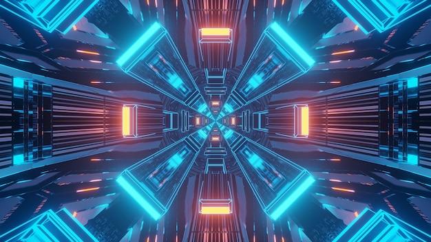 Renderização em 3d de fundo futurístico de sci-fi techno com luzes criando formas interessantes