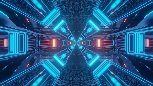 Renderização em 3d de fundo techno futurista com luzes criando formas legais