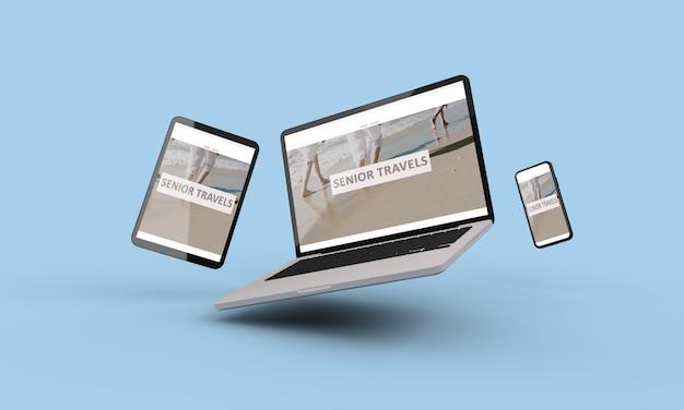 Renderização em 3d de laptop, celular e tablet voador mostrando ilustração de web design responsivo sênior de viagens.