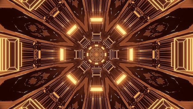 Renderização em 3d de luzes futurísticas de sci-fi techno - um fundo legal