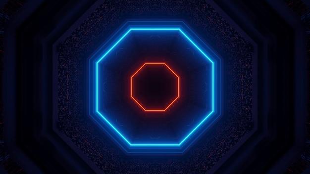 Renderização em 3d de luzes futurísticas e sci-fi techno criando formas interessantes - um fundo legal