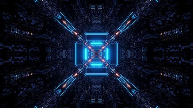 Renderização em 3d de luzes futurísticas e sci-fi techno criando formas interessantes