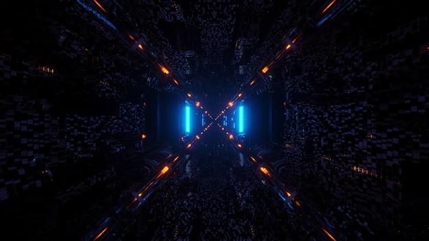 Renderização em 3d de luzes futurísticas e sci-fi techno criando formas legais - um fundo legal