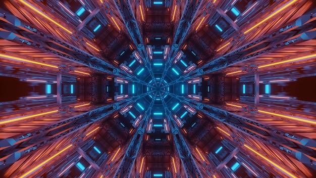 Renderização em 3d de luzes futurísticas e sci-fi techno criando formas