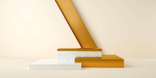 Renderização em 3d de mármore abstrato e moderno e suportes de ouro