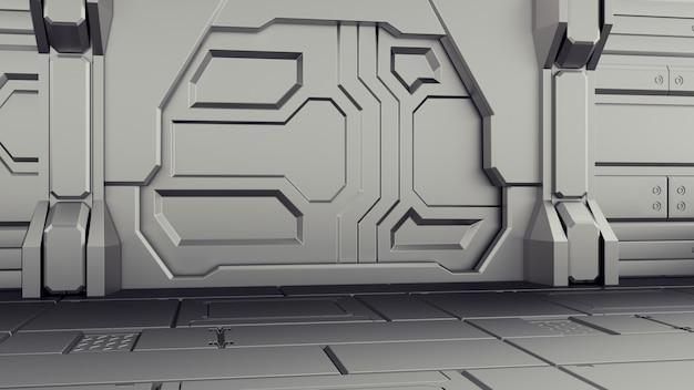 Renderização em 3d de nave espacial de ficção científica realista hangar de porta fechada.