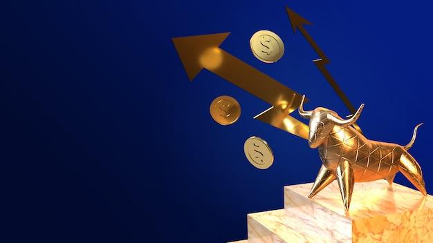 Renderização em 3d de ouro de touro para conteúdo de negócios.