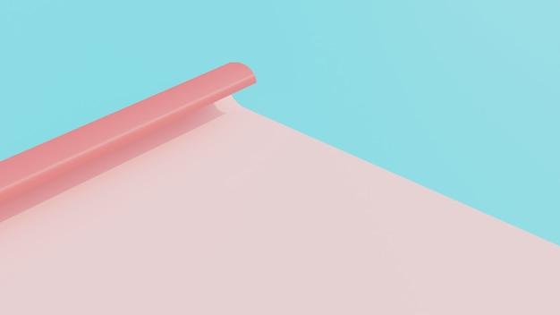 Renderização em 3d de papel com cores suaves
