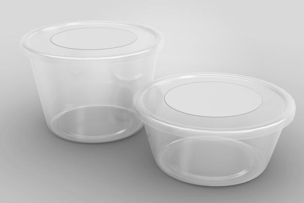Renderização em 3d de recipientes com tampa redonda transparente e vazia, isolados no branco