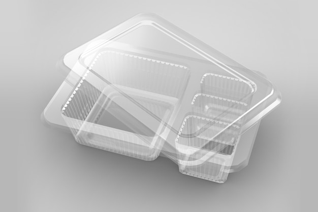 Renderização em 3d de recipientes de bento transparentes vazios isolados no branco