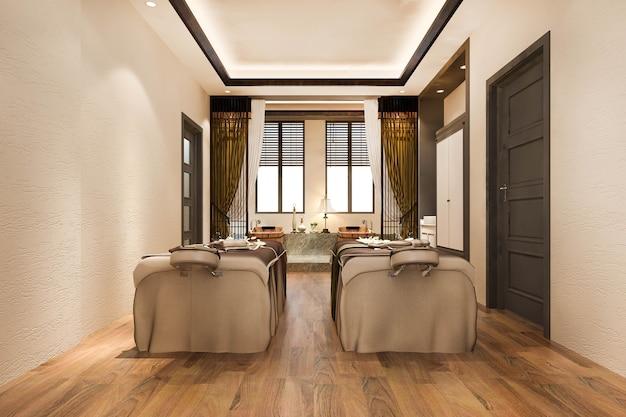 Renderização em 3d de spa e massagem de bem-estar em suíte de hotel com banheira