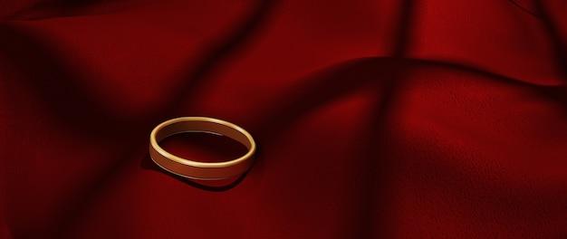 Renderização em 3d de um anel de ouro e um pano vermelho. fundo abstrato.